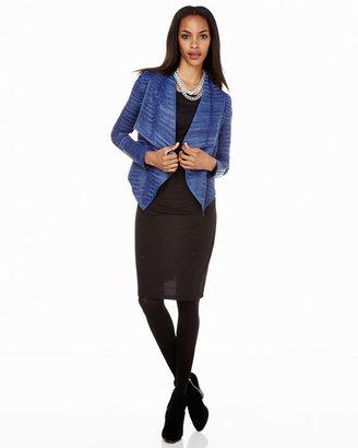 Neiman Marcus Leather Strip Coat, Blue