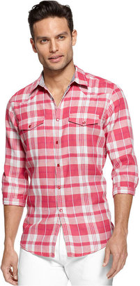 INC International Concepts Shirt, Long Sleeve Arnold Plaid Shirt