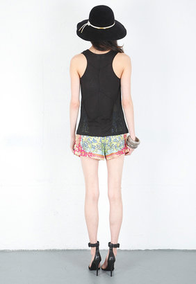 Alexis Litzy Racerback Top with Mesh Panels in Black