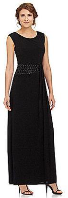 R & M Richards Woman Beaded-Waist Gown
