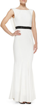 Zac Posen Sleeveless Cowl-Back Gown, Ivory/Black