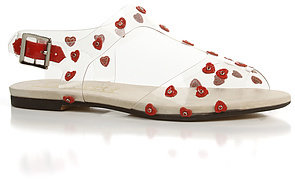 F-Troupe The Heart Plastic Sandal in Red Hearts