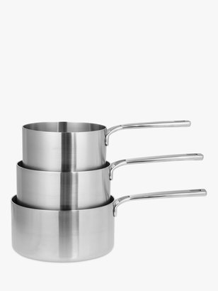 John Lewis & Partners 5-Ply Thermacore Saucepans with Lids Set, 3 Pieces