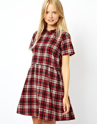 Asos Smock Dress In Check With Collar - Red
