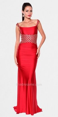 Atria Cap Sleeve Diamond Pattern Embellished Glamorous Train Dress