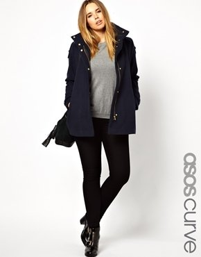 Asos Exclusive Coat With Funnel Neck And Gold Zip - Navy