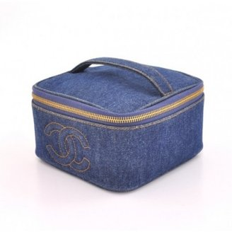 Chanel excellent (EX Blue Denim Vanity Case Cosmetic Bag