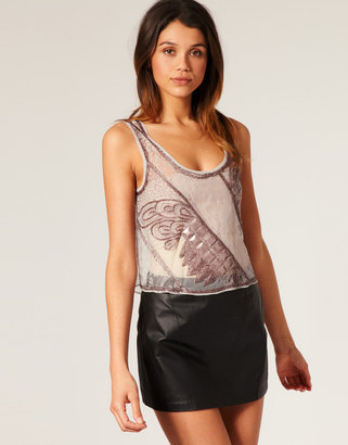 Asos Crop Lace and Embellished Tank