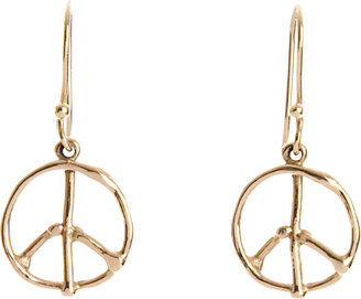 Dean Harris Gold Peace Sign Earrings