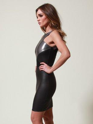 Donna Mizani RACERFRONT INSET DRESS In Metallic
