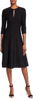 St. John Contour Ottoman Milano Knit 3/4-Sleeve Dress