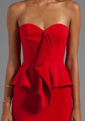 Jay Godfrey Birch Strapless Cascade Ruffle Peplum Dress