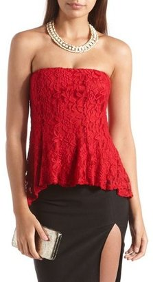 Charlotte Russe Hi-Low Lace Tube Top