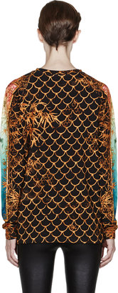 Balmain Gold Framed Print Crewneck Sweatshirt