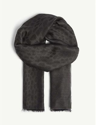 Max Mara Crocodile-print wool and modal-blend scarf