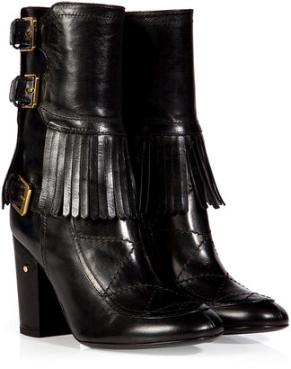Laurence Dacade Leather Merli Fringe Half Boots in Black