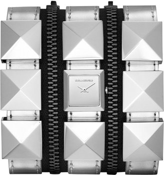 Karl Lagerfeld Women's Stainless Steel Stud and Metallic Silver Leather Triple Strap Watch 18mm KL2007