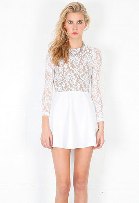 Boulee Avery Long Sleeve Lace Open Back Dress in Off White