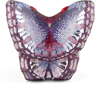 Judith Leiber Couture New Butterfly Minaudiere, Silver/Amethyst