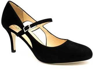 "Marvin K. ""Jessica"" Black suede MaryJane Pump with Cutout Sides"
