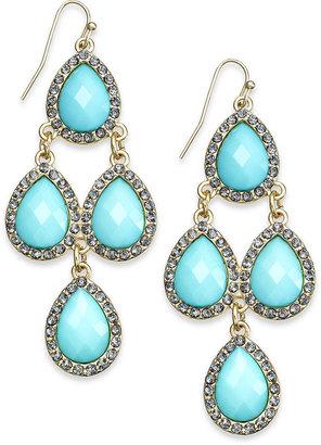 INC International Concepts Gold-Tone Pavè Aqua Teardrop Chandelier Earrings
