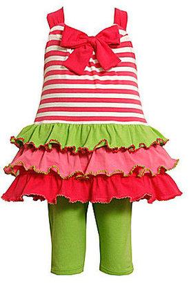 Bonnie Jean Toddler Striped/Colorblock Dress & Capri Pant Set