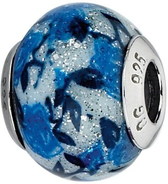 Murano Prerogatives Blue Rose Glitter Italian Glass Bead