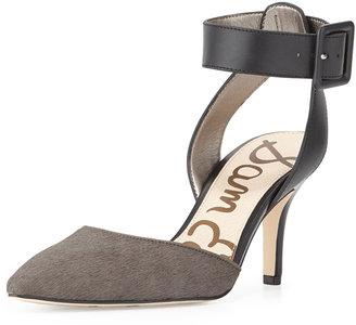 Sam Edelman Okala Calf-Hair & Leather Ankle-Wrap Sandal, Sharkskin/Black