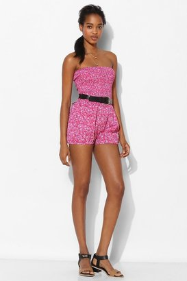 Urban Outfitters Pins And Needles Smocked Strapless Bloomer Romper