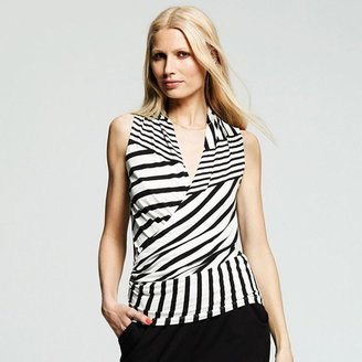 Peter Som for designation striped faux-wrap top - women's
