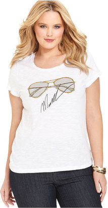 MICHAEL Michael Kors Size Short-Sleeve Sunglasses-Print Tee