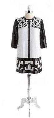 French Connection Geometric Bead Sequin Dress