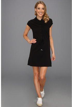 Lacoste Cap Sleeve Fluid Pique Drawstring Waist Polo Dress (Black) - Apparel