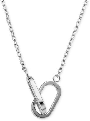 Michael Kors Necklace, Silver-Tone Single Link Pendant Necklace