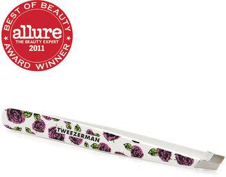 Tweezerman Designer Series Slant Tweezers- Betsey Johnson, White with graphic pink Betsey Bud 1 ea