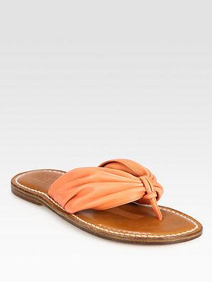 Bernardo 1946 Draped Leather Thong Sandals