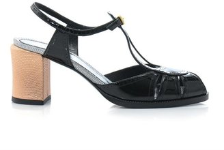 Fendi Contrast heel patent leather sandals