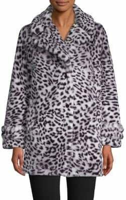 Jones New York Faux Fur Notch-Collar Coat