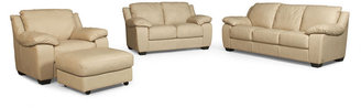 Blair 4-Piece Leather Sofa Set: Sofa, Love Seat, Chair and Ottoman