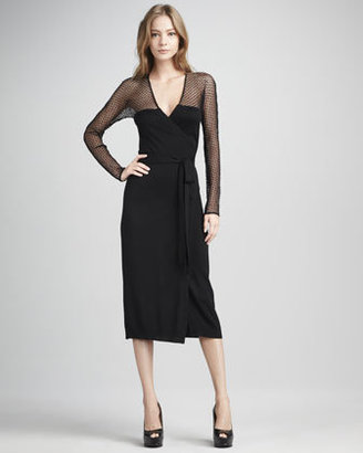 Diane von Furstenberg Zalda Lace-Yoke Wrap Dress