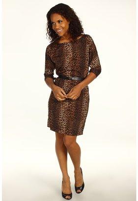 MICHAEL Michael Kors Persian Leopard Pebble Crepe Boatneck Dress w/ Slit Sleeves (Caramel) - Apparel