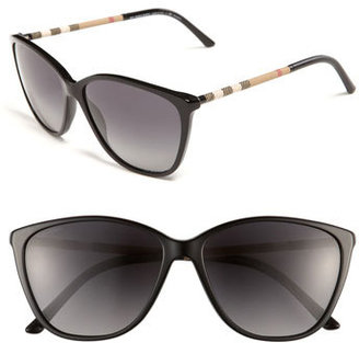 Burberry Women's Retro 58Mm Polarized Sunglasses - Black Check/ Grey Gradient