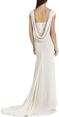 BCBGMAXAZRIA Juliet Cowl-Back Exposed Corset Gown