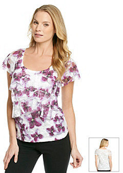 Amy Byer Scallop Tiered Lace Printed Knit Top