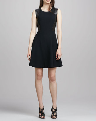 Rebecca Taylor Leather-Side A-Line Dress