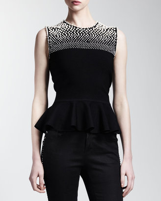 Alexander McQueen Faux-Pearl Beaded Peplum Top