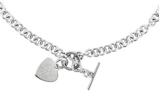 """Steel by Design 18"""" Engravable Heart Charm Rolo Link Necklace"""