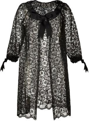 Anna Sui Black Pansy Lace Eyelet Coat