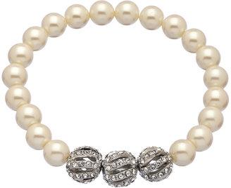 Carolee Pearl Crown Stretch Bracelet