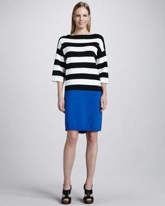 Joan Vass Colorblock Striped Dress